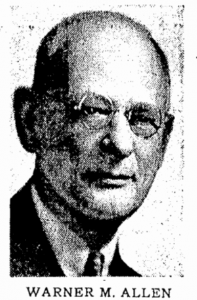 1957 newspaper photograph of Warner M. Allen