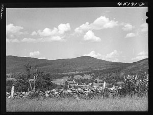 Landscape of the town of Weston, Vermont; Jack Delano photographer. U.S. Office of War Information. Overseas Picture Division. Farm Security Administration, Library of Congress.