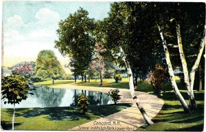 Concord New Hampshire's famous White Park shown in an antique postcard scene.