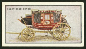 Abbott Jack coach, , made by J.S. Abbot of Concord NH and imported by Cobb and Co. in the 1860s at Dunedin, New Zealand. Arents Cigarette Cards, George Arents Collection, NYPL Digital Library