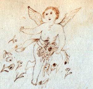Sketch of an angel by .... L. Etta Moulton in 1873