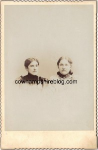Photograph of Anna C. Fry and Laura Jane Fry, sisters, both daughters of Reuben & Sarah (Miller) Fry. Laura Jane married Joel H. Hesser.