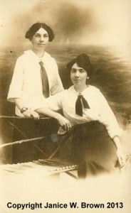 Emma (Ryan) Fish and Nellie Ryan in servant's uniforms, circa 1920; Manchester NH