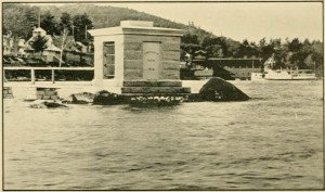 "Photograph of Endicott Rock in 1893 from ""Commission for the Preservation, Protection and Appropriate Designation of the Endicott Rock at the Weirs in the Town of Laconia, 1893"