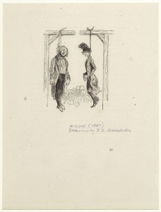 Men hanging from a gallows, 1887; Mid-Manhattan Picture Collection, NYPL Digital Library
