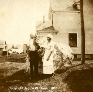 George and Myrtle (Ryan) Miller in uniform, in front of their own home on Mystic Street, Manchester NH.