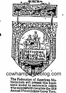 Sample of the 1918 fob that was awarded to Gypsy Tour participants the first year. From The Richmond Times Dispatch (Richmond VA) of February 25, 1917.