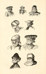 "Illustration of muffler styles from Shakespeare's time, from ""Illustrations of Shakspeare, and of Ancient Manners with Disserations,"" by Francis Douce."
