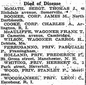 Boston Herald news from 12 January 1919 announcing the death of Frederick F. Holland from disease.