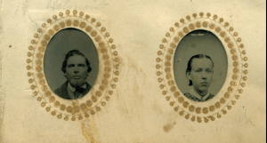Leonard & Rosella (Phelps) Colby of Northfield and Bow, New Hampshire, from a gem sized tintype.