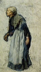 Oil Painting: Old woman in apron and shawl, c1876-1909; Otto Henry Bacher; Library of Congress.