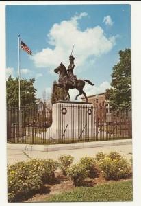 Postcard of Pulaski equestrian statue, Manchester New Hampshire.
