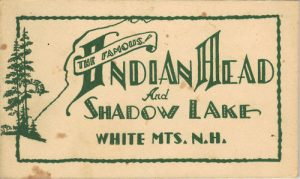 "Vintage booklet cover for ""The Famous Indian Head"" and Shadow Lake White Mountains New Hampshire"