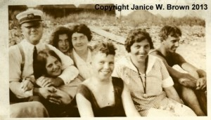 Servants of Aretas B. Carpenter at Straw's Point.  Nellie Ryan, cook, in back row, 2nd from left.