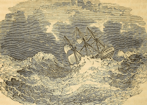 """Sketch of a shipwreck from """"The tragedy of the seas""""; internet archive"""