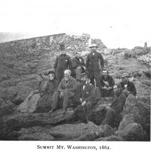 Photograph taken in 1862 at the summit of Mount Washington (NH) including Col. Edward E. Cross in uniform