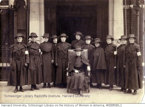 12 nurses of Base Hosp[ital] no. 5 in London May 1917, Carrie M. Hall seated in chair, from Schlesinger Library on the History of Women in America, Radcliffe Institute, c/o Harvard Univeristy