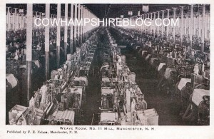 Weave room, No. 11 Mill, Manchester NH from old postcard