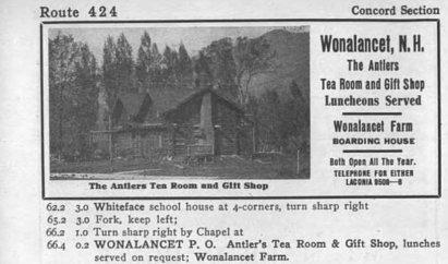 wonalancet tea room advertisement