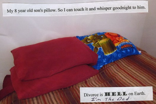 My 8 year old son's pillow. So I can touch it and whisper goodnight to him. Divorce is HELL on Earth. (I'm the Dad.)