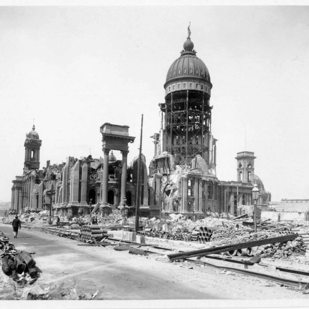 Majestic Theatre and City Hall after the earthquake in 1906