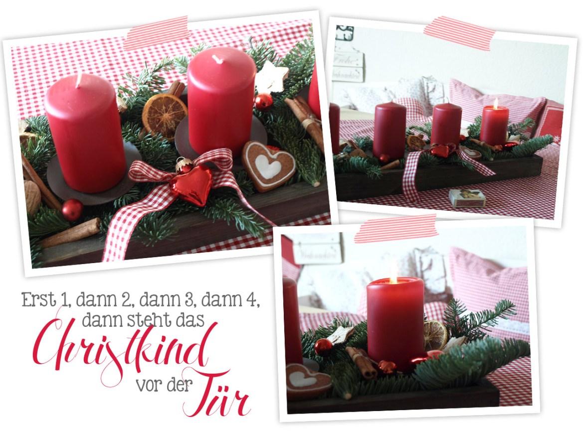 Advent Advent, ein Lichtlein brennt. Erst 1, dann 2, dann 3, dann 4, dann steht das Christkind vor der Tür