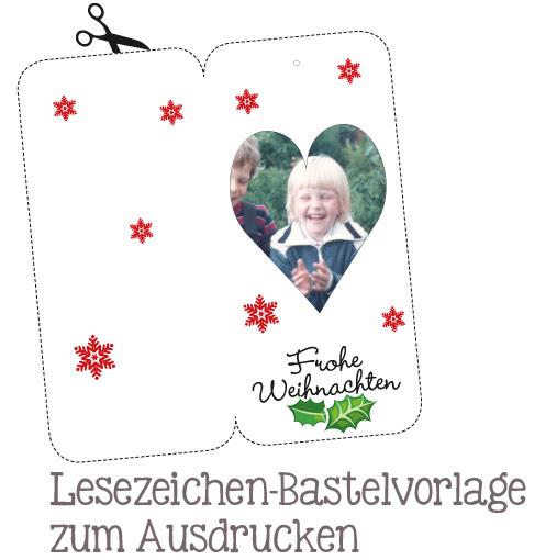 Selbstgebasteltes Lesezeichen mit persönlichen Fotos, ideal als Last-Minute-Geschenk, mit oder ohne Weihnachtsmotiven. Vorlagen als Download