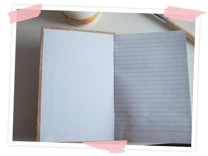 Tolle Upcycling Idee für Selbermacher. Notizbuch mit Packpapier aufhübschen. Und mit gratis printable dekorieren. oder mit Washi. Oder mit Stammbildern...