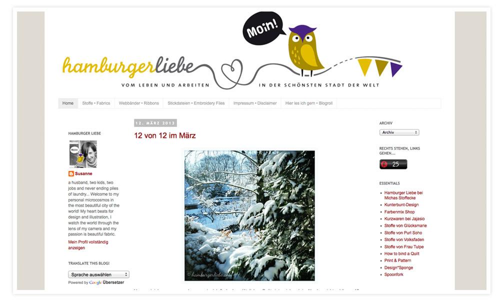 Frau Hahael (HHL) Also Frau Hamburger Liebe ist auch ein Blogger-Urgestein und ich lese ihr Blog schon bestimmt drei Jahre. Ihre Stoffe und Designs sind der Hammer und ich liebe ihr Logo.  Auch ihre Beiträge sind immer mitten aus dem Leben und sie hat immer eine gewisse Portion selbstironie dabei, die ich Klasse finde!