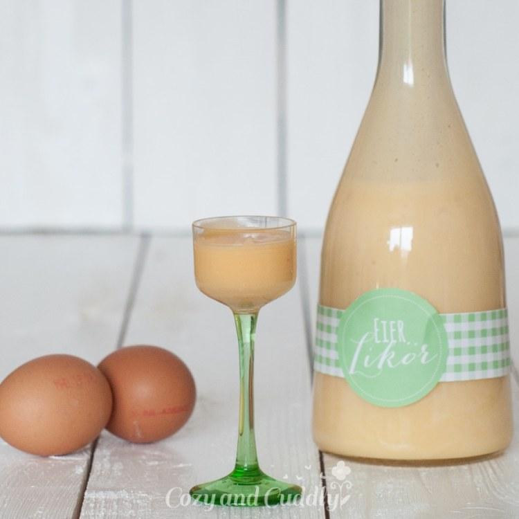 Hausgemachter Eierlikör im Wasserbad mit Printable/ Etikett zum Ausdrucken