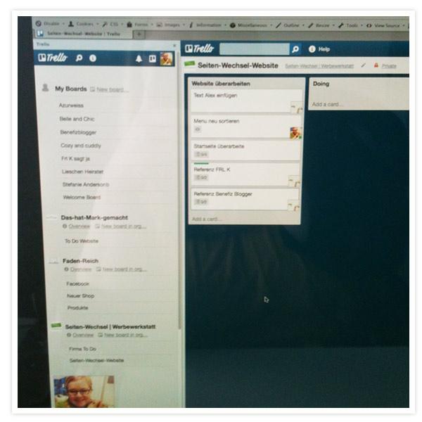 So begab ich mich dann ins Büro und plante meinen Tag mit trello.com - habe ich gerade für mich entdeckt. Echt klasse!