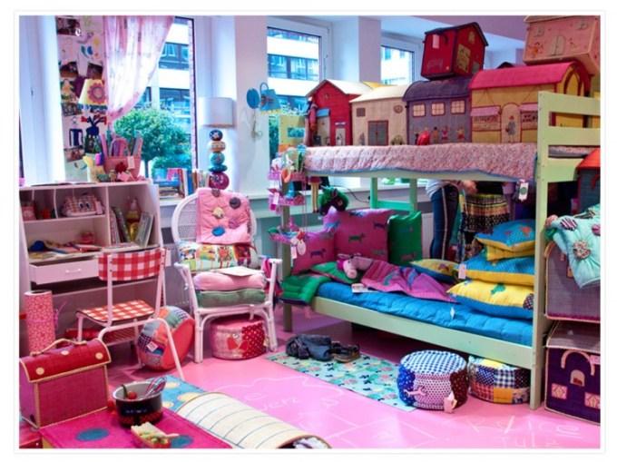 Der Showroom in Hamburg ist aufgebaut wie ein Appartment. Hier das fröhliche Kinderzimmer.
