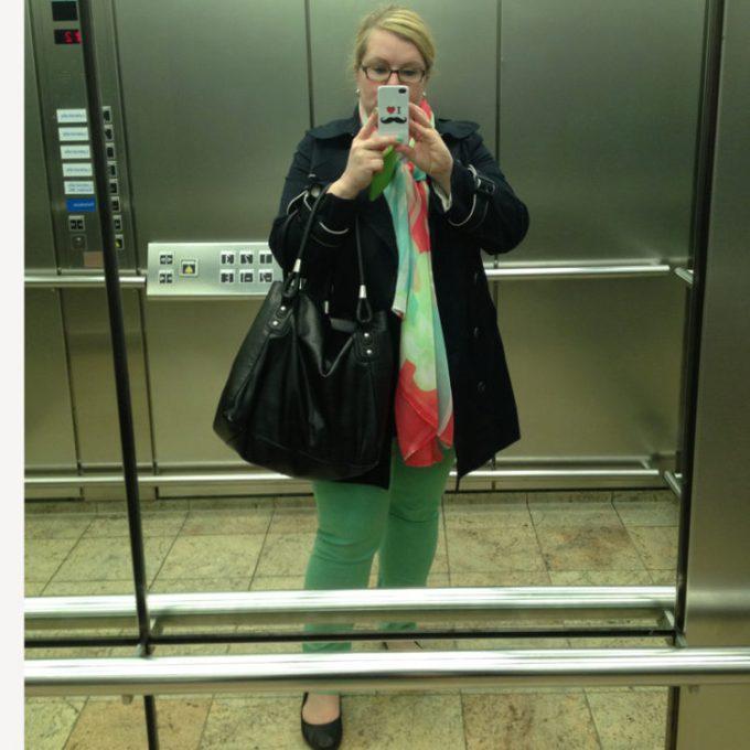 Fahrstuhl gefahren