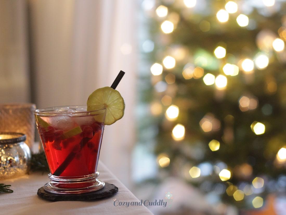 Advent: Rezept für Weihnachts-Gin-Tonic mit Grenadine, cozy and cuddly Adventskalender