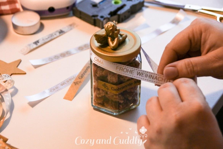 DIY-Geschenkglas mit selbstgedruckten Schleifen - Adventskalendert