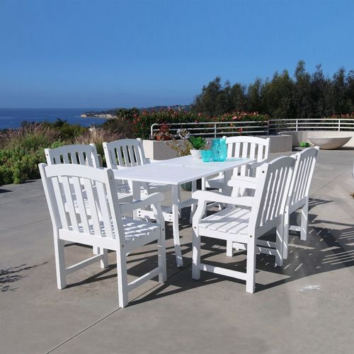 bradley classic 7 piece wood outdoor patio dining set with 6 chairs white