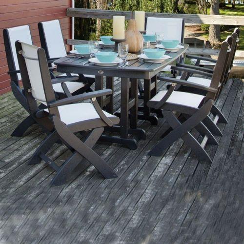 polywood coastal sling outdoor dining set 7 piece rectangle
