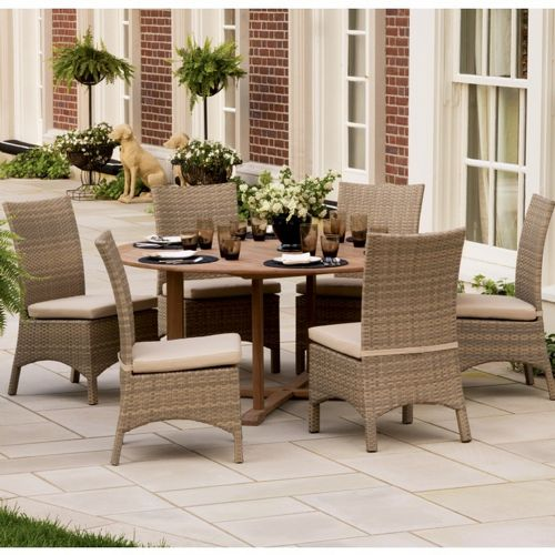 torbay outdoor wicker round patio dining set 7 piece