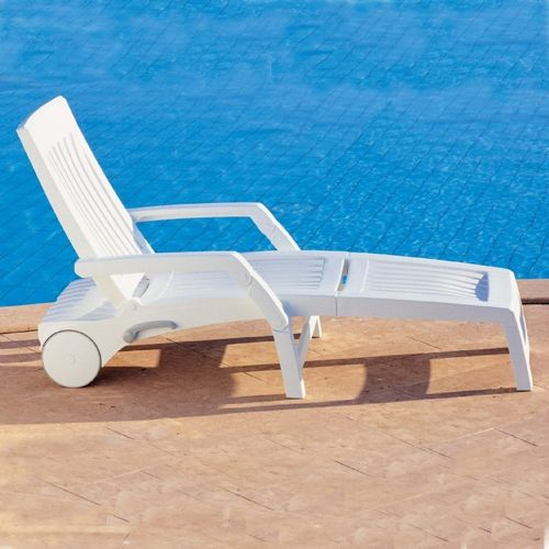 nettuno folding resin chaise lounge with arms