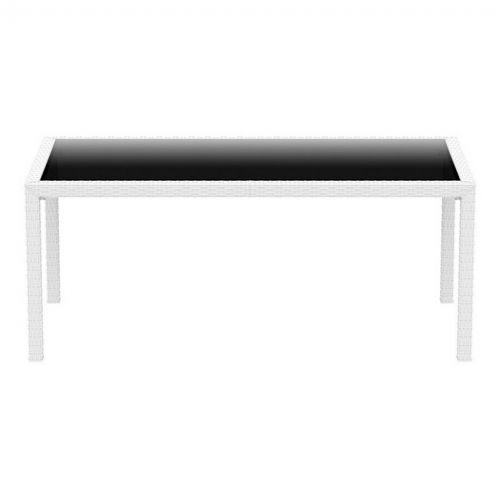 miami wickerlook resin rectangle patio dining table white 69 inch