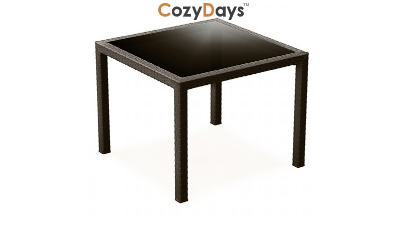 miami wickerlook resin square patio dining table brown 37 inch