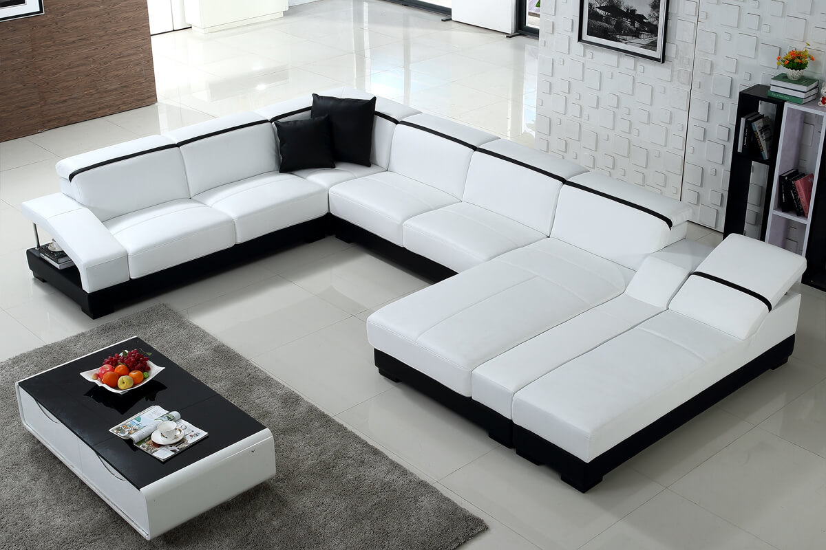 double chaise sectional sofa white