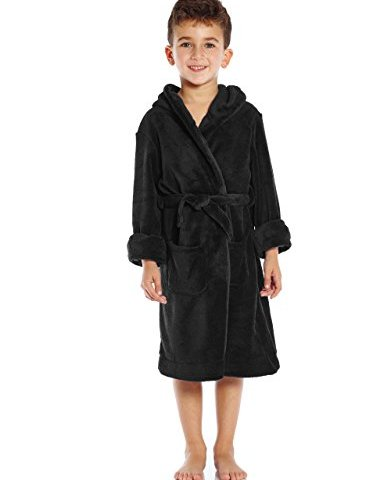 Besserbay Boys and Girls Ultra-Soft Flannel Hooded Robes Cozy Plush Bathrobes 3-12 Years