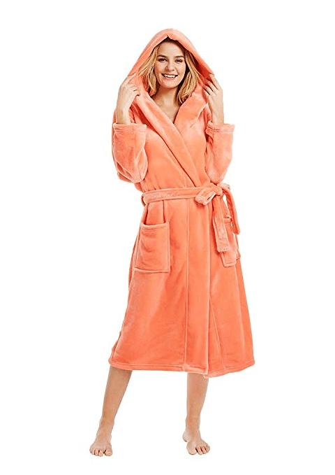 Luxury Ladies Soft Long Collar Hooded Fleece Bath Robe Dressing Gown House Coat