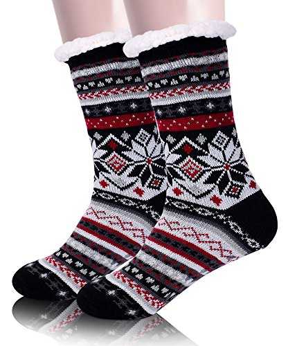 Ladies Christmas Double  Extra Warm Thermal Lounge Slipper Socks//size 4//8