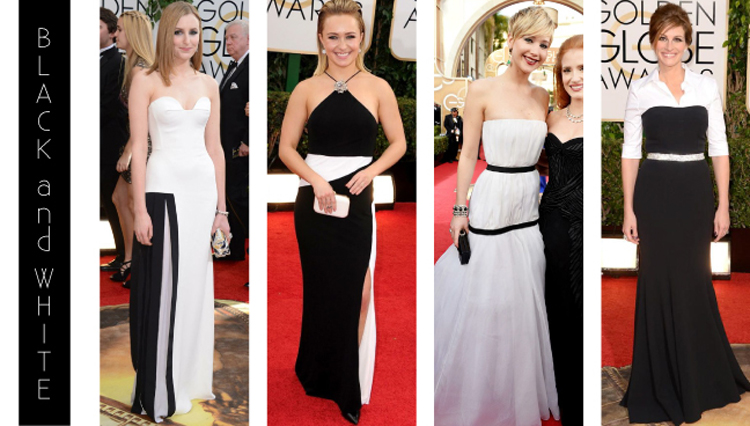 Simple black and white color blocking was tending on the red carpet of the 2014 Golden Globe Awards