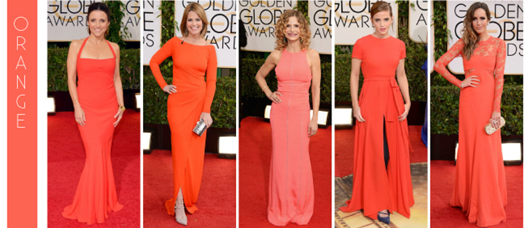 Orange is the new black on the red carpet at the 2014 Golden Globe Awards