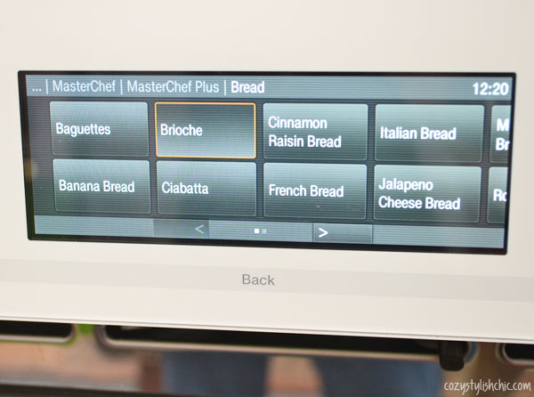 Miele Combi-Steam Oven bread menu