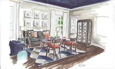 Interior hand rendering by Pasadena Interior designer Jeanne Chung