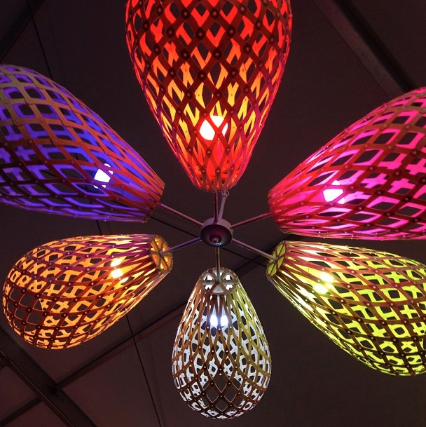 David Trubridge utilizing Philips Hue color changing bulbs at Westedge Design Fair 2013